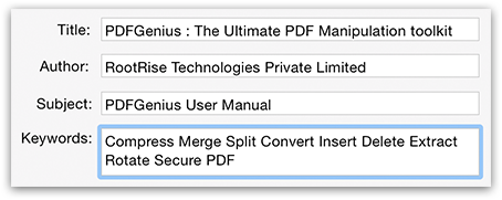 PDFGenius - Modify Title, Author, Subject and Keywords of PDF document