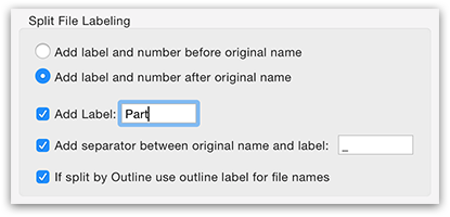 PDFGenius - PDF Split labeling options
