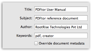 PDFtor - Change Metadata Description
