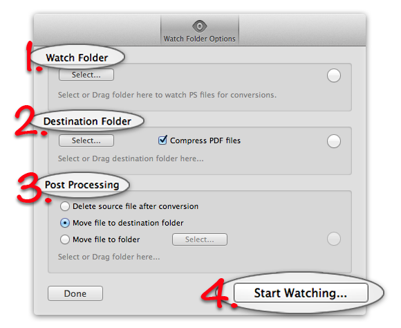 PS-to-PDF - The automation feature. Watch folder settings.