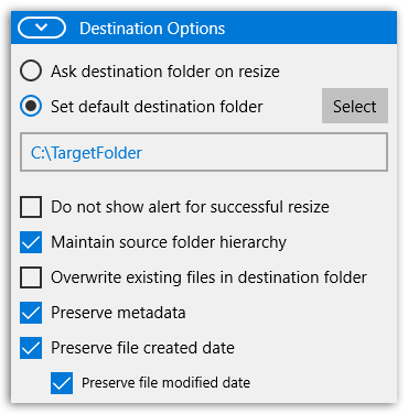 PhotoResize - Destination options