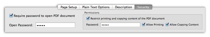 Text to PDF - Encrypt PDF document using security options