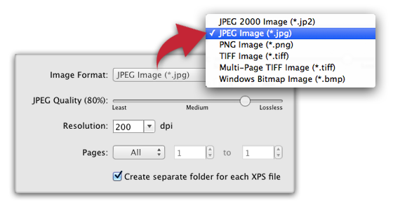 XPSView - XPS to image conversion and raster image extraction from XPS documents  settings
